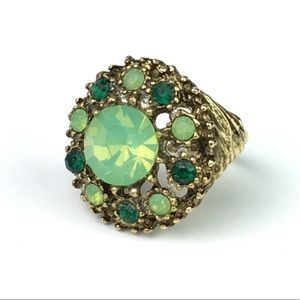 Mid Century Cocktail Ring w/Green Stones GORGEOUS!